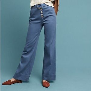 Anthropologie Wide Leg Cassidy Belted Pants